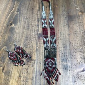 Vintage Native American Beaded Necklace 3piece set